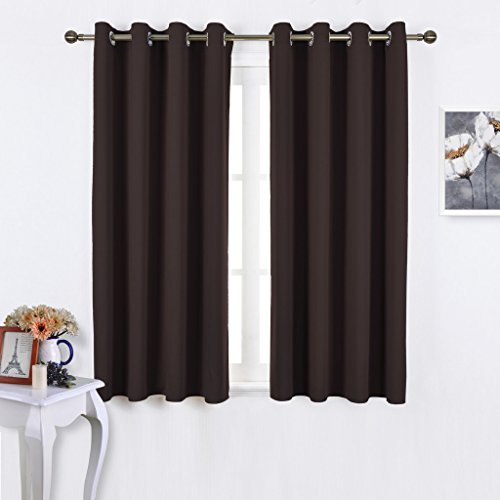 NICETOWN Bedroom Blackout Curtains and drapes - Triple Weave Thermal Insulated Solid Grommet Blackout Panels for Basement(One Pair, 52 Inch by 45 Inch, Toffee Brown) - Natural Outdoor Fabric