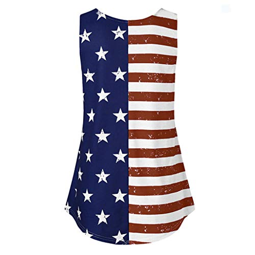 - Smdoxi Women's American Flag T-Shirt July 4th Independence Day T-Shirt Loose Sleeveless Tops Patriotic American T-Shirt Wine
