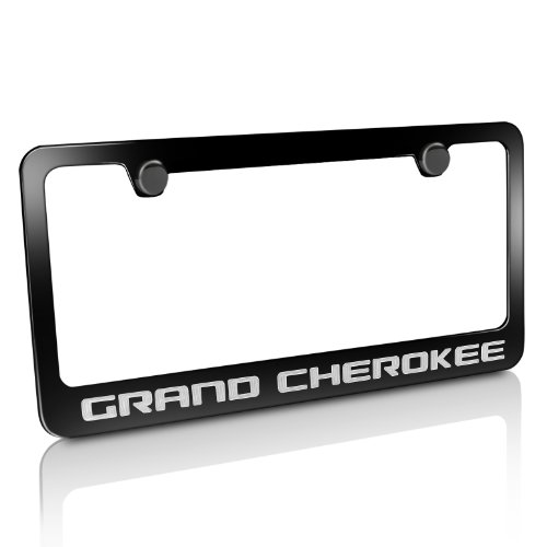 CarBeyondStore Jeep Grand Cherokee Black Metal License Plate Frame (Jeep Grand Cherokee Frame)