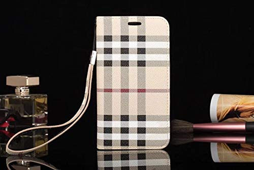 jiehao iPhone 6s Plus/iPhone 6 Plus Case, Stylish Elegant Luxury Lattice Pattern Leather Wallet Case Wrist Strap Flip Cover with Card Slots Phone Case for Apple iPhone 6 Plus / 6s Plus, White (6 Plus Burberry)