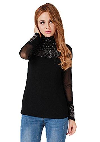 Hengsong Sexy Chemisier Mesdames Chic Chemises Diamond Haut-cou Manches longues Tops Dentelle Chemises Slim Blouse T-shirt Femme (M,Noir)