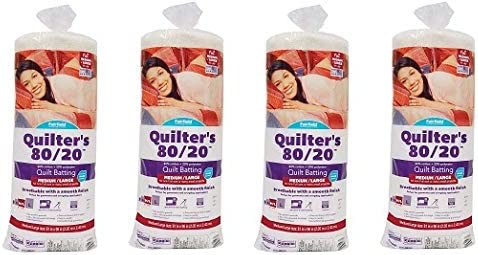 81 x 96 White Fairfield Quilters 80//20 Full Pack of 2
