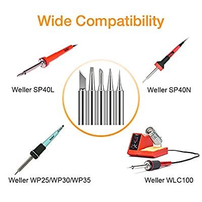 "Solder Tips for Weller WLC100, WP25, WP30, WP35, SP40L and SP40N ST Series Soldering Irons Tips Copper-Based, Multi-Electroplated, Better Heat Transfer, OD 0.24"" (6.0mm) and ID 0.157"" (4.0mm) 5 PCS"