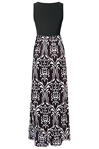 Print Maxi Contrast Top Summer Black Zattcas Womens Floral Dress Tank White Sleeveless 6HccSyg