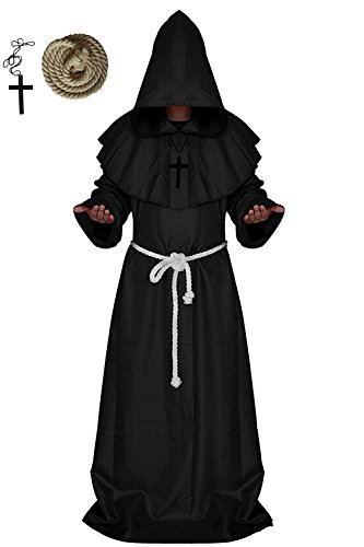 Halloween Costumes Black Robe (Men's Halloween Medieval Monk Hooded Robe Priest Tunic Cosplay Costume Cloak (X-Large, Black))