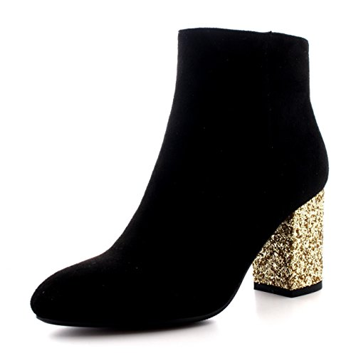 Womens Trendy Glitter Fashion Pointed Toe Dress Block Heel Ankle Boots - Black/Gold - US8/EU39 - (Black And Gold Boots)