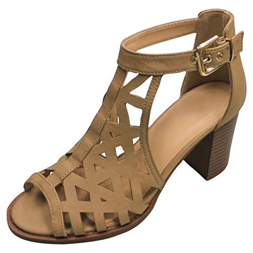 Heel Boy Shoes - Top Beige Western Fashion Chunky Heel Open Toe Gladiator Sandal Shoe for Women Teen Girls (Tan Size 9)