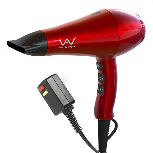 VAV 1875w Powerful Negative Ion Blow Dryer And Ceramic Professional Hair Dryer 2 Speeds 3 Temperatures Far Infrared Heat Cool Shot Button with Concentrator,Red