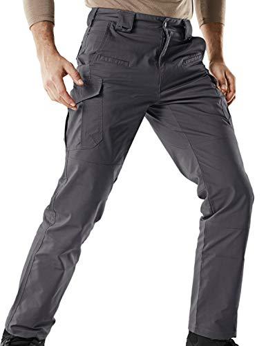 CQR Men's Flex Stretch Tactical Work Outdoor Operator Rip-Stop Trouser Pants EDC, Flexy Cargo(tfp513) - Charcoal, 36W/34L