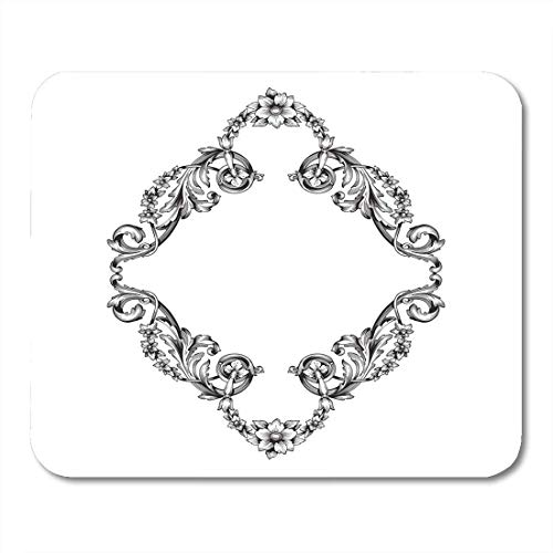 Mouse Pads Acanthus Classical Baroque of Vintage Design Filigree Calligraphy You for Wedding and Laser Cutting Pad 9.5 X 7.9 Notebooks,Desktop Computers Mats, Office Supplies
