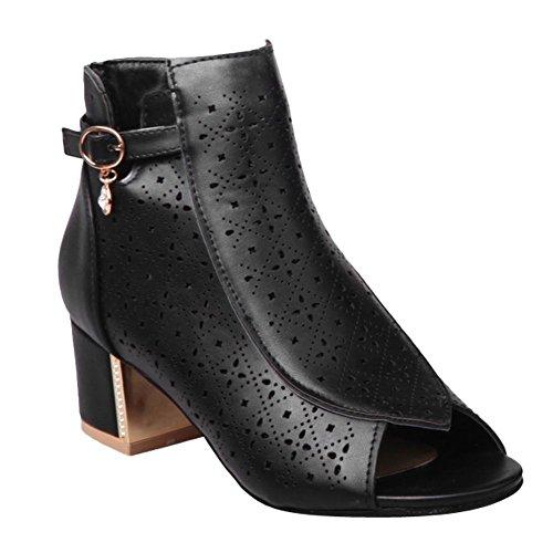 Chunky Heel Western Open Womens Charm Toe Foot Boots Zipper Black Summer x6Y1Ow0q