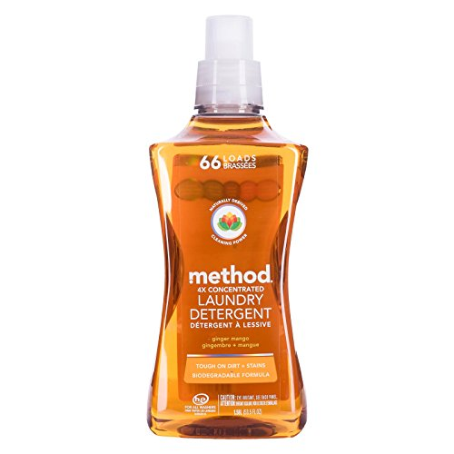 Method 4x Concentrated Laundry Detergent, Ginger Mango, 53.5 Ounce, 66 Loads