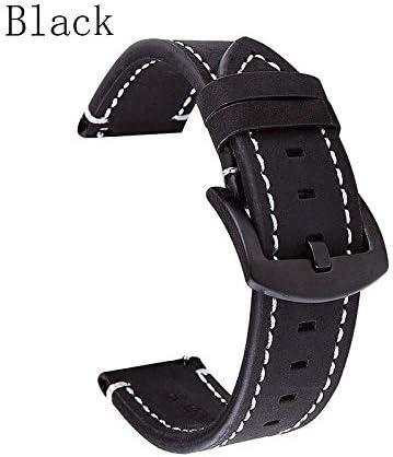TGBZ 18mm 20mm 22mmの高級ビンテージカーフスキンストラップとレザーストラップ (Band Color : Black, Band Width : 18mm)