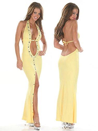 Élégant Mesdames Jaune Dos nu Soirée Cocktail pour robe de soirée Party Dance Club Wear Taille UK 8–10EU 36–38
