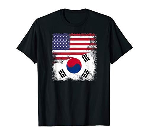 Half South Korean Flag T-Shirt | Vintage USA Gift (Korea Soccer Pride T-shirt)