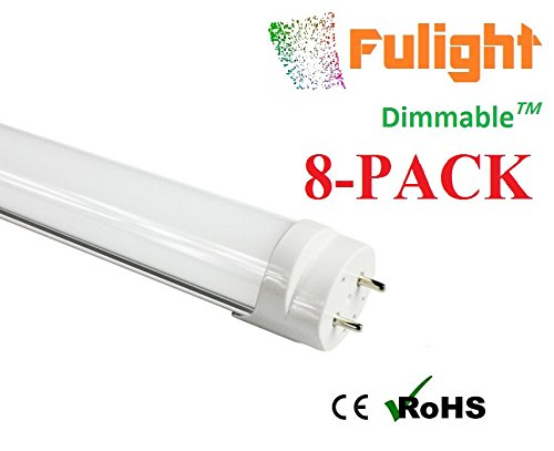 (8-Pack) Fulight Dimmable ¤ T8 LED Tube Light - T8 4FT 48 18W (32W Equivalent), Cool White 4500K, FO32/741/CW, F32T8, F34T12, Double-End Powered, Frosted Cover,110/120VAC