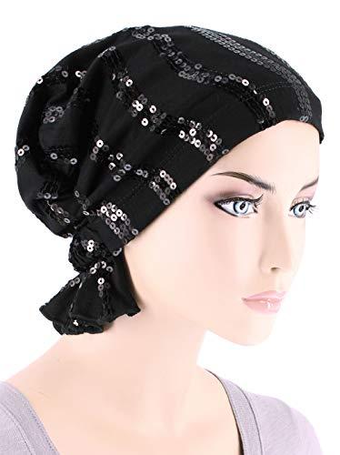 (Abbey Cap Womens Chemo Hat Beanie Scarf Turban Headwear for Cancer Cotton Sequin Black)