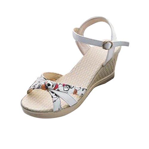 hohem Blume Weiß Mädchen Sommer Sandalen Toe Absatz Damen Fashion Clode® Peep Damen Sandalen Strandschuhe mit 6vTw07q