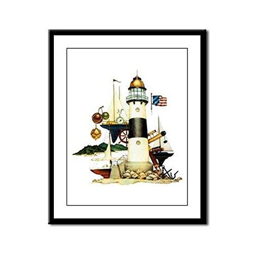 Framed Panel Print Nautical Lighthouse Telescope Anchor