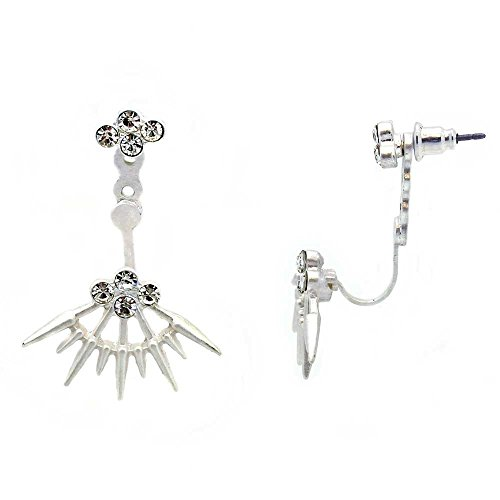 KIS-Jewelry Starburst Earring Jackets - Beautiful Front And Back Drop Stud Earrings With Crystal Stud, Silver Plated (Adjustable Ring Starburst)
