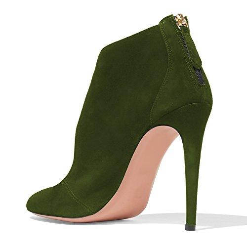 Fsj Women Stylish High Heel Pumps Punta Arrotondata Tacco A Spillo In Finta Pelle Scamosciata Tagliata Scarpe Con Cerniera Taglia 4-15 Us Verde