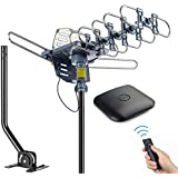 pingbingding Outdoor Antenna Digital HDTV Antenna Amplified TV Antenna 150 Miles Motorized 360 Degree Rotation with 40FT RG6 Coax Cable & Mounting Pole UHF/VHF/1080P Snap-On Installation