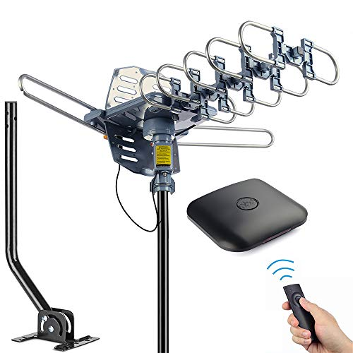 pingbingding Outdoor Antenna Digital HDTV Antenna Amplified TV Antenna 150 Miles Motorized 360 Degree Rotation with 40FT RG6 Coax Cable & Mounting Pole UHF/VHF/1080P Snap-On Installation (Best Outdoor Digital Antenna For Rural Areas)