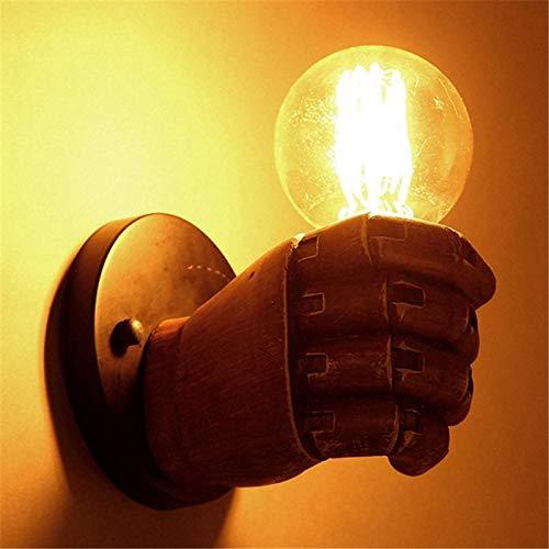 Retro mano puño resina lámpara de pa rojo    Loft viento Industrial decoración antigua lámpara de pa rojo  E27 tornillo de interfaz estilo Retro luces 9213f0