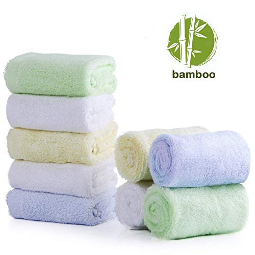 Baby Washcloths, 100% Organic Bamboo Baby Bath Washcloth Face Towels, Soft Hypoallergenic Absorbent 10X10 Newborn Towel Set for Boys & Girls Great Baby Shower Gift | Baby Travel Bathing Kit (9 pack)