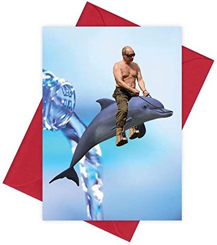 Vladimir Putin Dolphin Riding Happy Birthday Card Funny Rude Meme Greeting Cards Amazon Co Uk Office Products