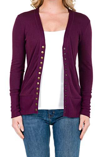2039 Women's Button Down Long Sleeve Knit Cardigan Sweater Plum M