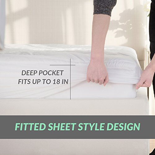 Mattress Pad Queen Size Hypoallergenic Antibacterial Breathable especially smooth Quilted Mattress Protector Fitted sheet Mattress Cover White by Bedsure