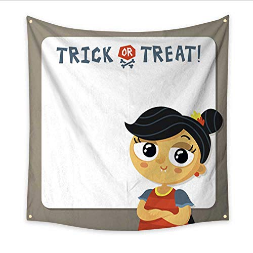 (Anniutwo Hanging Tapestry Trick or Treat Halloween Vector Background Template with Vampire Girl Home Decorations 47W x 47L)