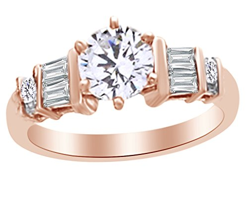 Christmas Holiday Sale Baguette Shape White Natural Diamond Semi Mount Engagement Ring In 14k Rose Gold (0.38 cttw) Ring Size-8