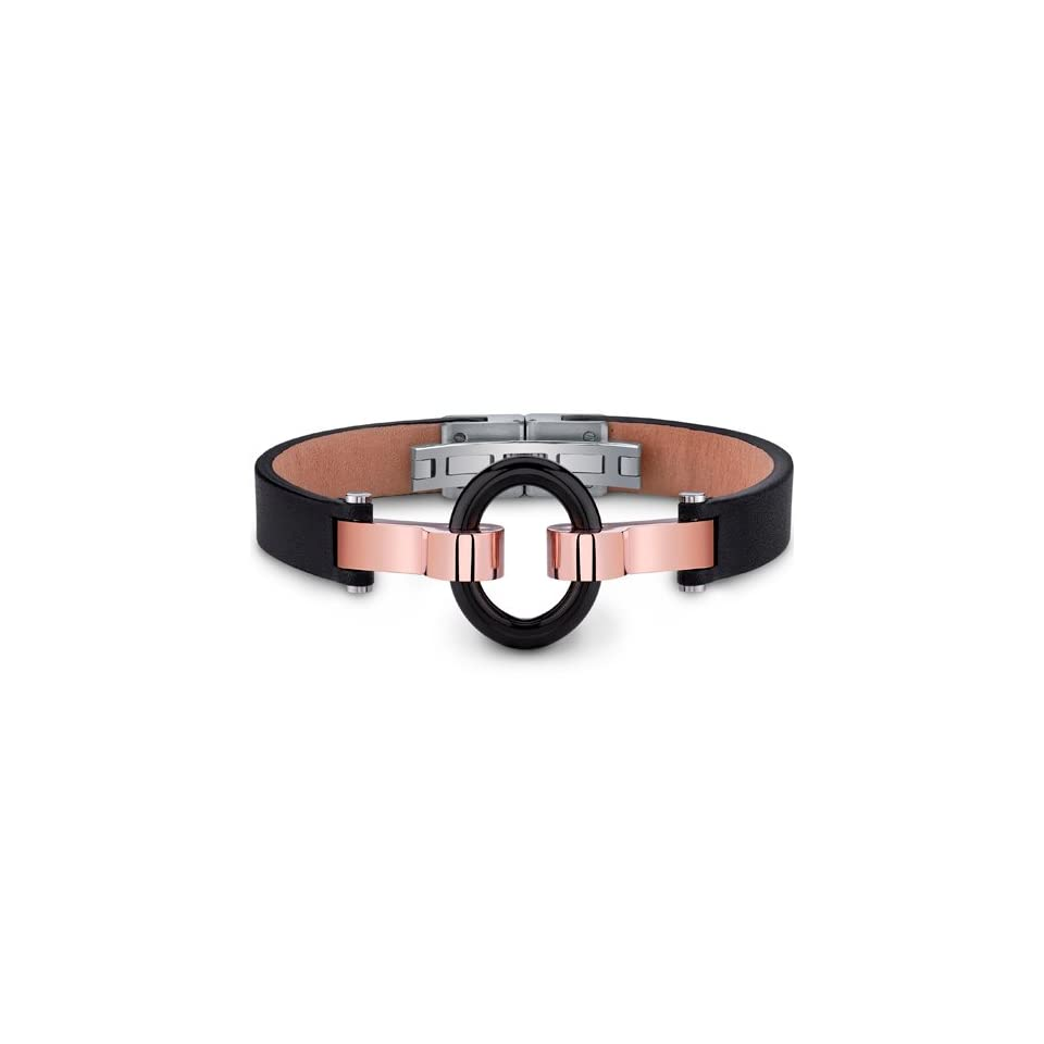 Mens Stainless Steel and Leather Bracelet with Black Ring