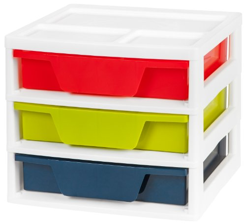 12 Drawer Chest - IRIS 3-Drawer Activity Chest with Organizer Top, Assorted Colors