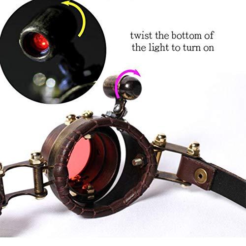 lumières Steampunk de Couleur Brown Court de et Lunettes Cuir 3 Victorian Lunettes Gothique de LED lentilles Color Brown 3 en avec WEATLY Couleur gTaqEw