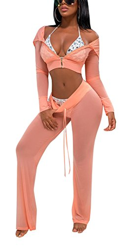 Sheer Bikinis Swimwear - Bluewolfsea Women's Sexy 2 Piece Mesh Swimsuit Bikini Cover up Hoodie Crop Tops and Pants Set Summer Beach Party Outfits Large Pink