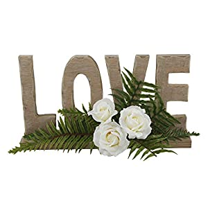 """Flora Bunda Artificial Flowers 12"""" Love Floral Sign with Roses,Wood Sign Love 11"""