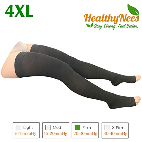 HealthyNees Thigh Open Toe 20-30 mmHg Compression Grade Over Knee Length Big Calf Extra Wide Plus Tall Size Leg Stocking Circulation Swelling Socks (Black, Wide Thigh 4XL)