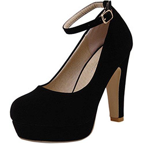 Azbro Mujer Zapatos de Tacón Alto Tacón Ancho Correa-Tobillo de Moda Sólido Plataforma Rojo