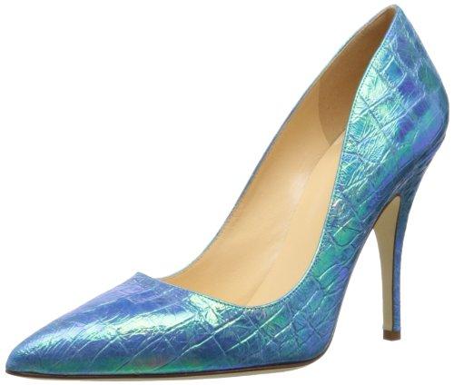Kate Schop New York Dames Drop Pump Blauw / Hologram Leer Crocco Print
