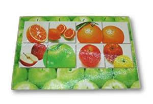 Decorative tempered glass cutting board with padded feet apples and oranges - Decorative tempered glass cutting boards ...