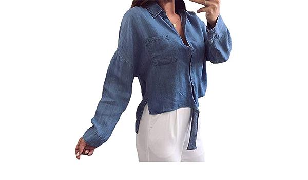 LHZMLO Blusa De Mezclilla para Mujer Camisa con Botones De ...