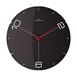 Vitri Collection 14 and One Half Inch Wall Clock with Dot and Number Dial on Black