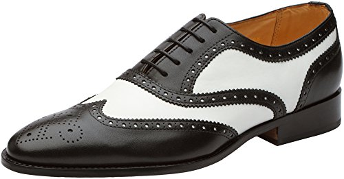 3DM Lifestyle Men's Classic Brogue Oxford Wing-Tip Lace Up Leather Lined Perforated Dress Oxfords Shoes US 9 - 9.5 Black/White