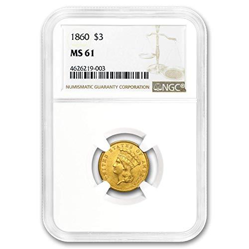 1860 $3 Gold Princess MS-61 NGC $3 MS-61 NGC