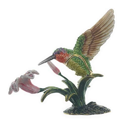 Kubla Craft Enameled Hummingbird with Trumpet Lily Trinket Box, Accented with Austrian Crystals, 4.5 Inches Long