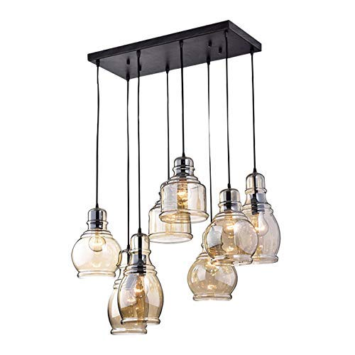 FM-24 Vintage 8-Bulbs Island Cognac Glass Cluster Pendant Lights in Antique Black Finish Glass Chandelier Lights for Dining Room, Cafe, Bar