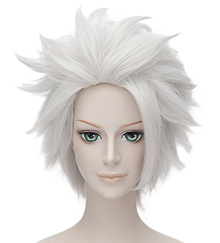 MSHUI Short Silver White Cosplay Wig Anime Hair